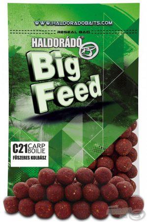 HALDORÁDÓ Big Feed - C21 Boilie - Fűszeres Kolbász 800g - etető pellet